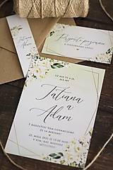 """Papiernictvo - Svadobné oznámenie """"Krémové kvety & geometry"""" ❤ - 12947668_"""