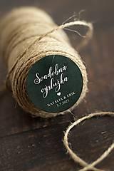 Papiernictvo - Nálepka na svadobnú výslužku - zelená - 12947737_