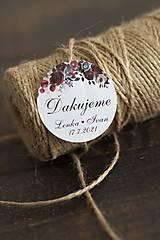 Papiernictvo - Nálepka na svadobnú výslužku - bordové kvety - 12947773_