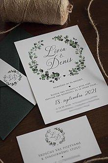 Papiernictvo - Svadobné oznámenie - Zeleň venček ❤ - 12949207_
