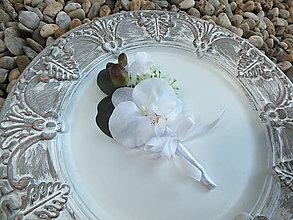 Pierka - Pierko pre ženícha - Biela orchidea - 12948431_