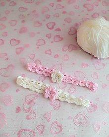 Detské doplnky - Háčkovaná čelenka ružová - 12948535_
