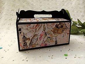 Krabičky - Darčeková krabička (Čierna- vtáčik) - 12949952_