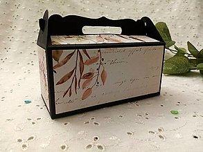 Krabičky - Darčeková krabička (Čierna- rastlinky) - 12949957_