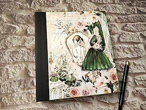 Papiernictvo - Zápisník Dáma v zelenom - 12950431_