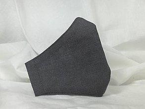 Rúška - Ľanové rúško , tmavá šedá,skladom - 12952650_