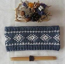 Čiapky - Modro-sivá čelenka s nórskym vzorom - 12952913_