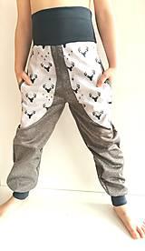 """Detské oblečenie - Softshellové nohavice """"grey&deer"""" - 12951254_"""