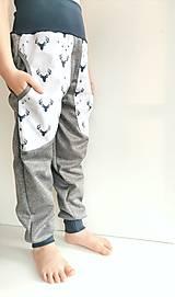 """Detské oblečenie - Softshellové nohavice """"grey&deer"""" - 12951256_"""