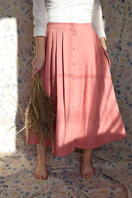 Sukne - EMILIA lněná sukně - 12953844_