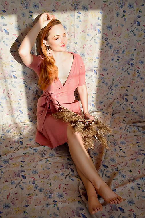 Šaty - SAKURA lněné zavinovací šaty - 12954156_
