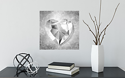 Obrazy - 3D obraz Srdce strieborné - 12951327_