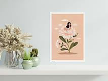 Grafika - Asterová panenka - umělecký tisk, A4 - 12957406_