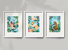 Grafika - Plameňáci - umělecký tisk, A4 - 12960419_