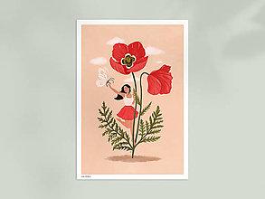 Grafika - Maková panenka - umělecký tisk, A4 - 12957392_