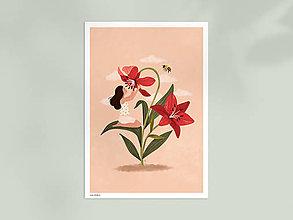 Grafika - Liliová panenka - umělecký tisk, A4 - 12957416_