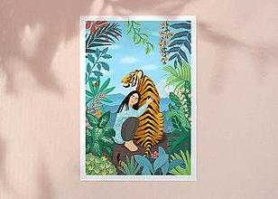 Grafika - Tygr - umělecký tisk, A4 (A4 Archivní papír) - 12957667_