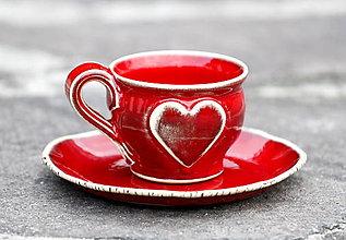 Nádoby - Keramická šálka so srdiečkom Espresso 50 ml - 12960015_