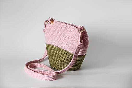 Kabelky - Provazová kabelka růžovozelená - 12955967_