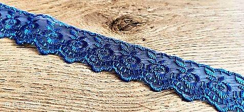 Galantéria - Čipka organzová 45 mm (Modrá) - 12958279_