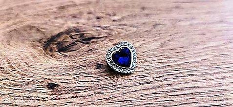 Galantéria - Ozdobná aplikácia srdiečko 17 mm - Kráľovská modrá - 12958430_