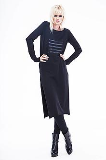 Šaty - FNDLK úpletové šaty 493 RRd midi s rozparkama - 12956237_