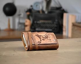 Papiernictvo - kožený midori zápisník s peračníkom CROM-LUS - 12957306_