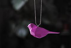 Náhrdelníky - Vtáčik prívesok fialový - 12958693_