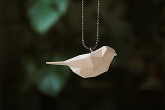 Náhrdelníky - Vtáčik prívesok púdrový - 12958625_