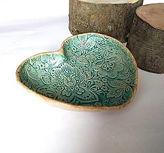 Nádoby - Keramická mištička v tvare srdca - 12955966_