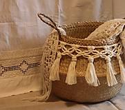 Košíky - ZERO WASTE košík z morskej trávy BELLA - 12957901_