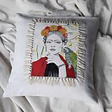 Úžitkový textil - Ľanová umelecká obliečka na vankúš - 12956591_