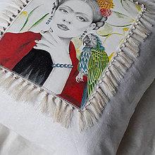 Úžitkový textil - Ľanová umelecká obliečka na vankúš - 12956590_