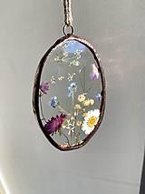 Dekorácie - Závesné dekorácie s lúčnymi kvetmi  (12 cm ovál) - 12958611_
