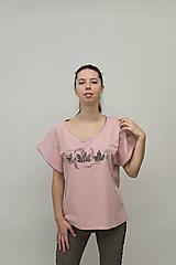 Tričká - Dámske staroružové tričko s listami - 12956834_
