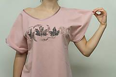 Tričká - Dámske staroružové tričko s listami - 12956839_