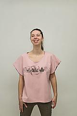 Tričká - Dámske staroružové tričko s listami - 12956844_