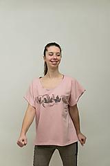 Tričká - Dámske staroružové tričko s listami - 12956845_