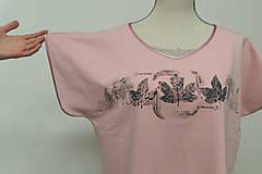 Tričká - Dámske staroružové tričko s listami - 12956846_