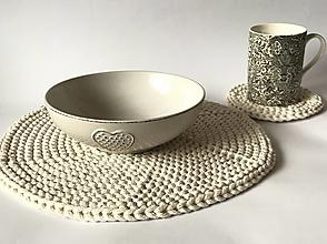 Úžitkový textil - Prestieranie okrúhle na stôl (Natur - ecru Ø 33 cm) - 12964325_