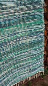 Úžitkový textil - Koberec tkaný ,,tyrkysovo zelený,, 80x180cm - 12964689_