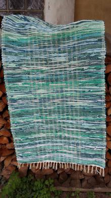 Úžitkový textil - Koberec tkaný ,,tyrkysovo zelený,, 80x180cm - 12964685_