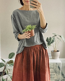 Sukne - Dámska ľanová sukňa - 12962548_