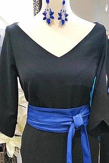 Opasky - Koženkový opasok - kráľovská modrá - 12965236_