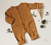 Detské oblečenie - Detský ľanový overal Sokolík (škoricová) - 12964672_