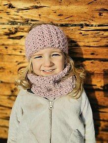 Detské čiapky - Čelenka a nákrčník - ružová - 12965127_