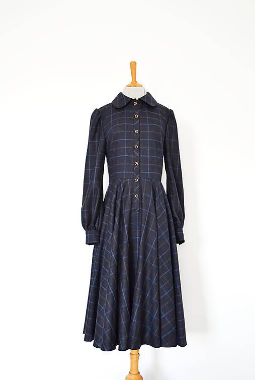 Upcy vlnené kárované šaty s kruhovou sukňou