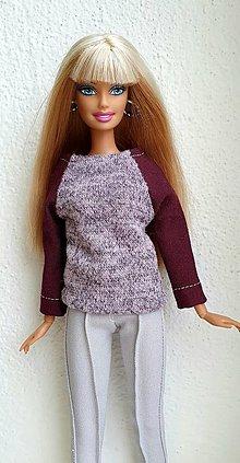 Hračky - Svetrík s dlhým rukávom pre Barbie - 12969938_