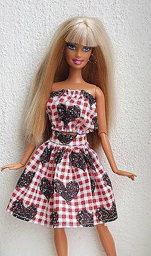 Hračky - Top+sukňa so srdiečkami pre Barbie - 12970123_