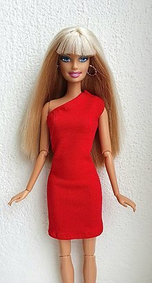 Hračky - Červené šaty na rameno pre Barbie - 12970134_
